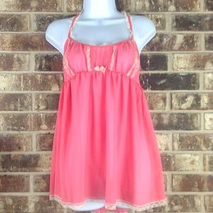 VS Coral Lace Pleated Bow Sheer Babydoll Chemise L